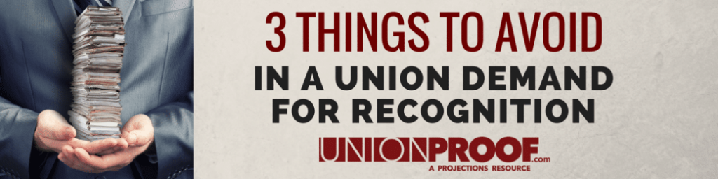 Demand for Recognition from UnionProof